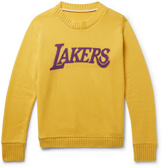 The Elder Statesman - + NBA Lakers Intarsia Cashmere Sweater