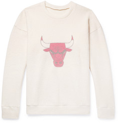 The Elder Statesman - + NBA Chicago Bulls Printed Brushed Cashmere-Blend Sweatshirt