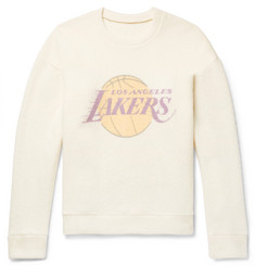 The Elder Statesman - + NBA Los Angeles Lakers Printed Brushed-Cashmere Sweatshirt