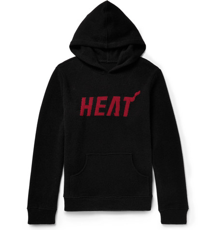 + Nba Miami Heat Intarsia Cashmere Hoodie - Black