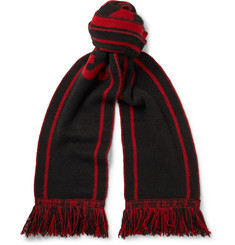 The Elder Statesman + NBA Chicago Bulls Fringed Intarsia Cashmere Scarf
