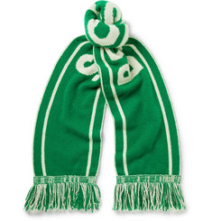 The Elder Statesman + NBA Boston Celtics Fringed Intarsia Cashmere Scarf