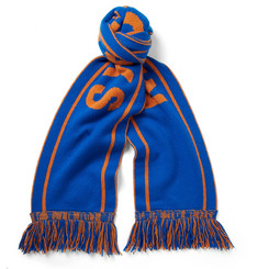 The Elder Statesman + NBA New York Knicks Fringed Intarsia Cashmere Scarf