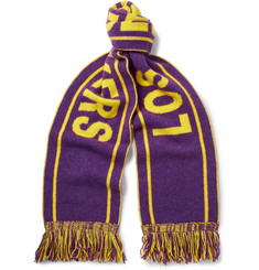 The Elder Statesman + NBA Los Angeles  Lakers Fringed Intarsia Cashmere Scarf