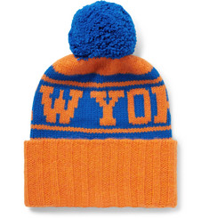The Elder Statesman + NBA New York Knicks Intarsia Bobble Hat