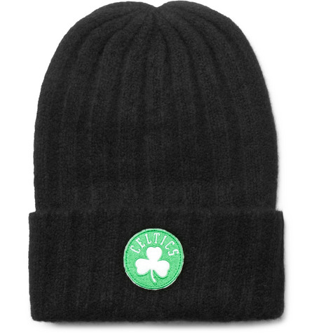 + Nba Boston Celtics Appliquéd Ribbed Cashmere Beanie - Black