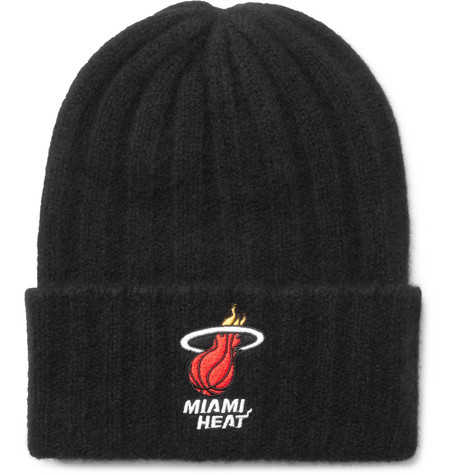 + Nba Miami Heat Appliquéd Ribbed Cashmere Beanie - Black