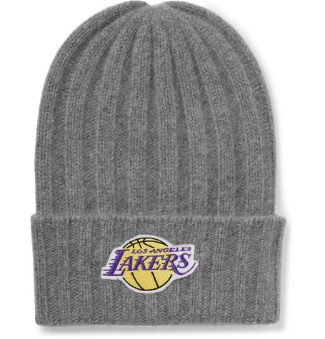 + Nba Los Angeles Lakers Appliquéd Cashmere Beanie - Gray