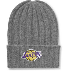 The Elder Statesman + NBA Los Angeles Lakers Appliquéd Cashmere Beanie