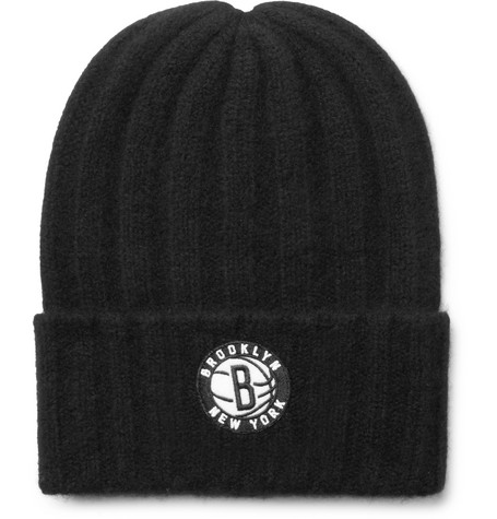 + Nba Brooklyn Nets Appliquéd Cashmere Beanie - Black