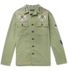 Polo Ralph Lauren Embroidered Herringbone Cotton Shirt Jacket