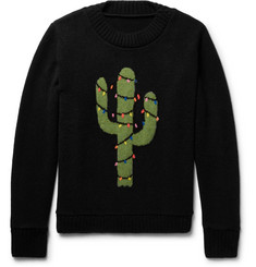 The Elder Statesman - Christmas Light Cactus Intarsia Cashmere Sweater