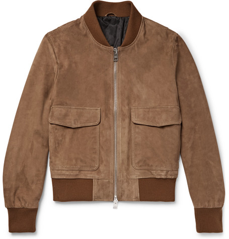 Suede Bomber Jacket - Brown
