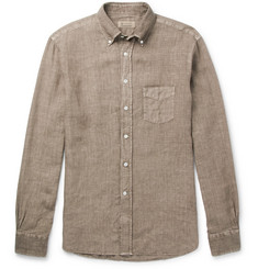 MAN 1924 Button-Down Collar Slub Linen Shirt