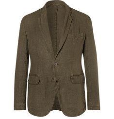 MAN 1924 Kennedy Army-Green Unstructured Linen Blazer