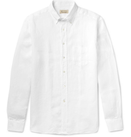 Button-down Collar Linen Shirt - White
