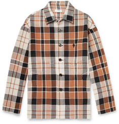 CMMN SWDN Kline Checked Cotton and Linen-Blend Shirt Jacket