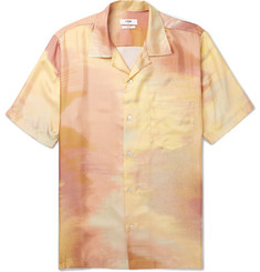 CMMN SWDN Duncan Camp-Collar Printed Silk-Satin Shirt