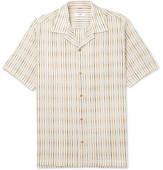 CMMN SWDN Dusty Camp-Collar Striped Cotton Shirt