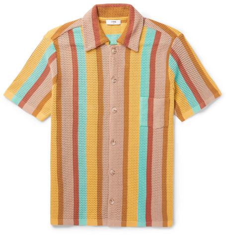 873bb06ebc Cmmn Swdn Wes Striped Knitted Cotton Shirt In Yellow | ModeSens