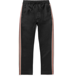 CMMN SWDN Buck Slim-Fit Striped Grosgrain-Trimmed Satin Sweatpants