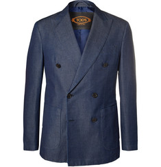 Tod's Indigo Double-Breasted Washed-Denim Blazer