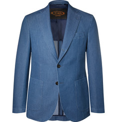 Tod's Blue Slim-Fit Washed-Denim Blazer