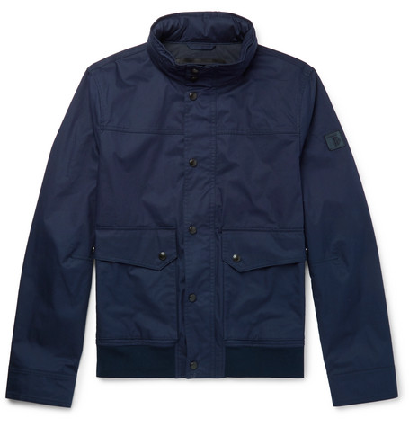 Coated-cotton Bomber Jacket - Navy