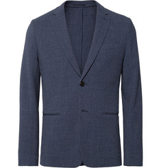 Theory Blue Newson Slim-Fit Checked Stretch Virgin Wool-Seersucker Blazer