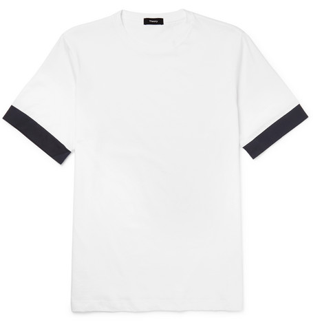 Contrast-trimmed Cotton-jersey T-shirt - Black