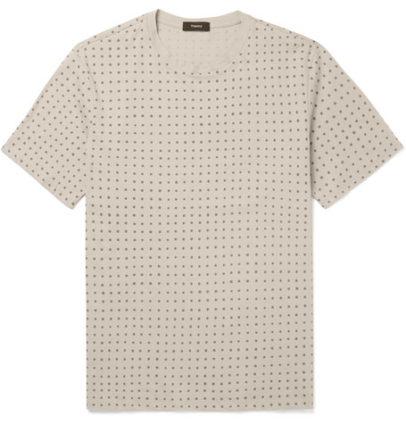 Theory Claey Printed Cotton-jersey T-shirt In Neutral