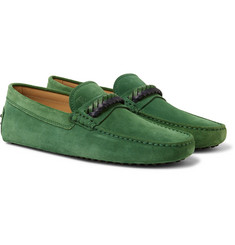 Tod's - Gommino Leather-Trimmed Suede Driving Shoes