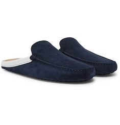 Tod's Leather-Trimmed Suede Backless Loafers