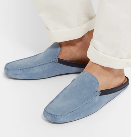 Leather-trimmed Suede Backless Loafers - Light blueTod's e0Dj06DnHE