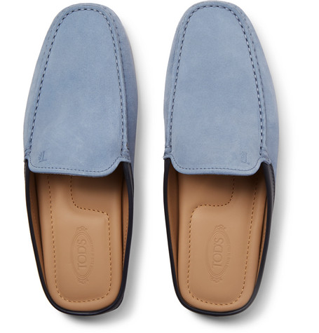 Leather-trimmed Suede Backless Loafers - Light blueTod's RwKsSb7yYk