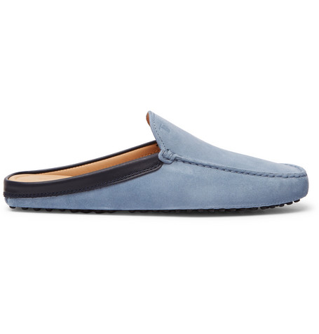 ff2093c4390 Tod s Leather-Trimmed Suede Backless Loafers In Light Blue