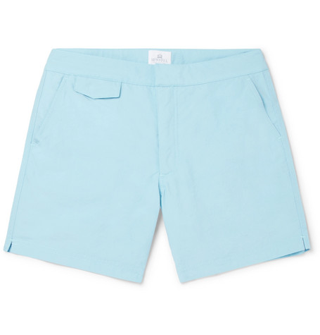 Sunspel Mid-length Shell Swim Shorts In Light Blue
