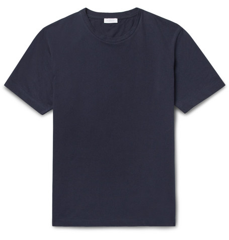 Riviera Cotton-mesh T-shirt - Midnight blue