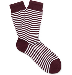 Sunspel - Striped Mercerised Cotton-Blend Socks