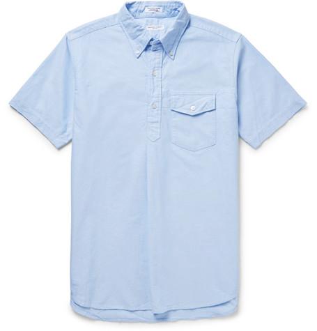 Engineered Garments Button-down Collar Cotton Oxford Half-placket Shirt In Light Blue