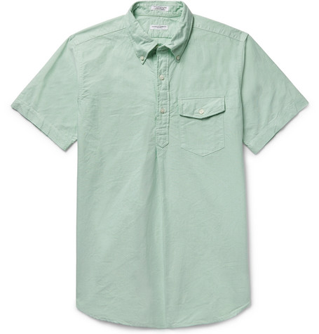 Button-down Collar Cotton Oxford Half-placket Shirt - Mint