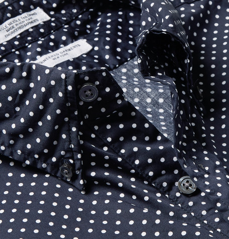 Button Down Collar Polka Dot Cotton Oxford Half Placket Shirt by Engineered Garments