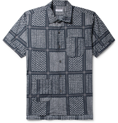 Camp Collar Printed Cotton And Silk Blend Shirt by Engineered Garments