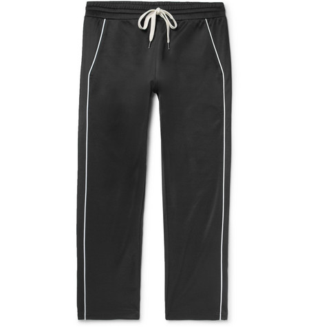 Lukas Piped Tencel And Cotton-blend Jersey Drawstring Trousers - Black