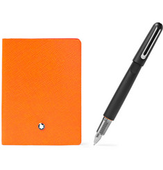 Montblanc - #145 Cross-Grain Leather Notebook and M Ultra Resin Ballpoint Pen Set