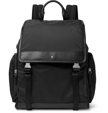 Montblanc Sartorial Jet Cross-grain Leather-trimmed Nylon Backpack In Black