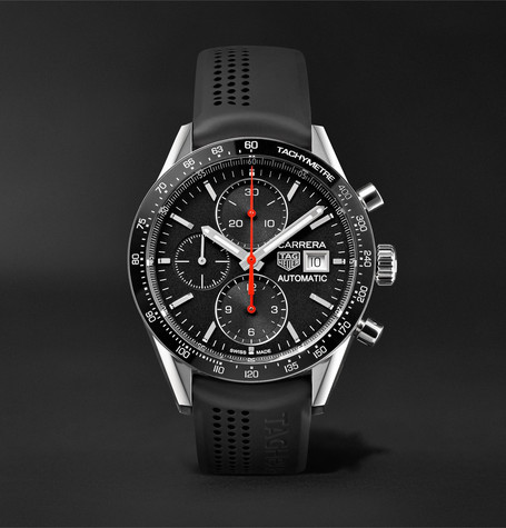 Carrera Automatic Chronograph 41mm Steel And Rubber Watch - Black