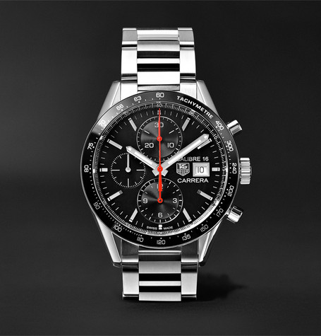 Carrera Automatic Chronograph 41mm Steel Watch - Silver