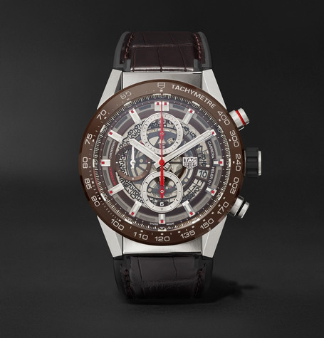TAG Heuer Carrera Automatic Chronograph 43mm Stainless Steel, Ceramic and Alligator Watch, Ref. No. CAR201U.FC