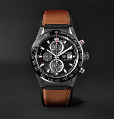 TAG Heuer - Carrera Automatic Chronograph 43mm Brushed-Steel and Leather Watch